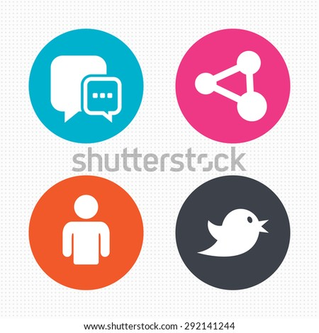 Circle buttons. Chat speech bubble and Share link symbols. Bird sign. Human person profile. Seamless squares texture. Vector - stock vector