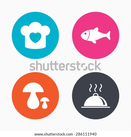 Circle buttons. Chief hat with heart and cooking pan icons. Fish and boletus mushrooms signs. Hot food platter serving symbol. Seamless squares texture. Vector - stock vector