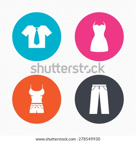 Circle buttons. Clothes icons. T-shirt with business tie and pants signs. Women dress symbol. Seamless squares texture. Vector - stock vector