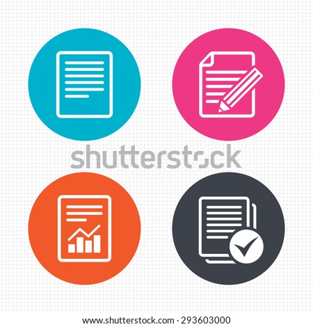 Circle buttons. File document icons. Document with chart or graph symbol. Edit content with pencil sign. Select file with checkbox. Seamless squares texture. Vector - stock vector