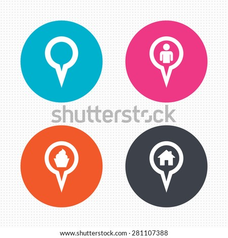 Circle buttons. Map circle pointer icons. Home, food and user location symbols. Restaurant and cupcake signs. You are here. Seamless squares texture. Vector - stock vector