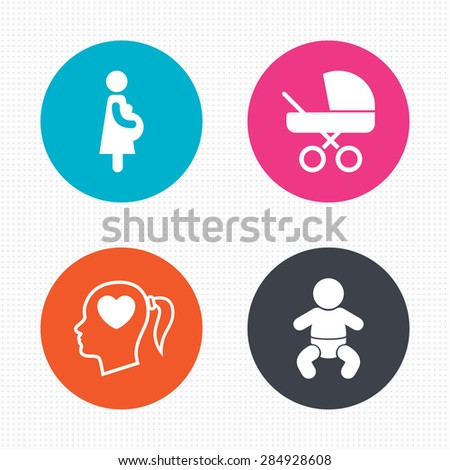 Circle buttons. Maternity icons. Baby infant, pregnancy and buggy signs. Baby carriage pram stroller symbols. Head with heart. Seamless squares texture. Vector - stock vector