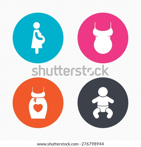 Circle buttons. Maternity icons. Baby infant, pregnancy and shirt signs. Dress with heart symbol. Seamless squares texture. Vector - stock vector