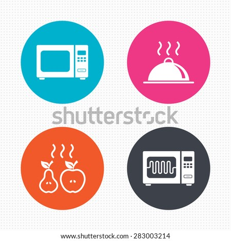 Circle buttons. Microwave grill oven icons. Cooking apple and pear signs. Food platter serving symbol. Seamless squares texture. Vector - stock vector
