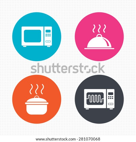 Circle buttons. Microwave grill oven icons. Cooking pan signs. Food platter serving symbol. Seamless squares texture. Vector - stock vector