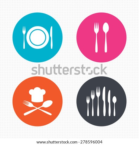 Circle buttons. Plate dish with forks and knifes icons. Chief hat sign. Crosswise cutlery symbol. Dessert fork. Seamless squares texture. Vector - stock vector