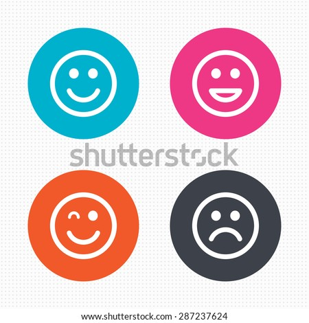 Circle buttons. Smile icons. Happy, sad and wink faces symbol. Laughing lol smiley signs. Seamless squares texture. Vector - stock vector