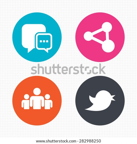 Circle buttons. Social media icons. Chat speech bubble and Bird chick symbols. Human group sign. Seamless squares texture. Vector - stock vector