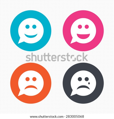 Circle buttons. Speech bubble smile face icons. Happy, sad, cry signs. Happy smiley chat symbol. Sadness depression and crying signs. Seamless squares texture. Vector - stock vector
