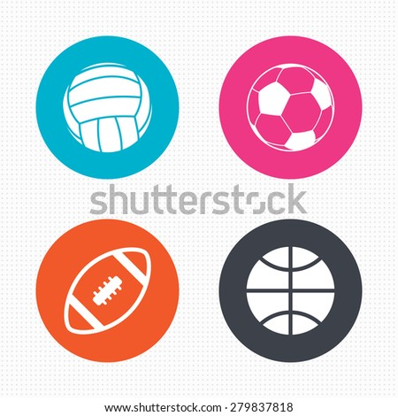 Circle buttons. Sport balls icons. Volleyball, Basketball, Soccer and American football signs. Team sport games. Seamless squares texture. Vector