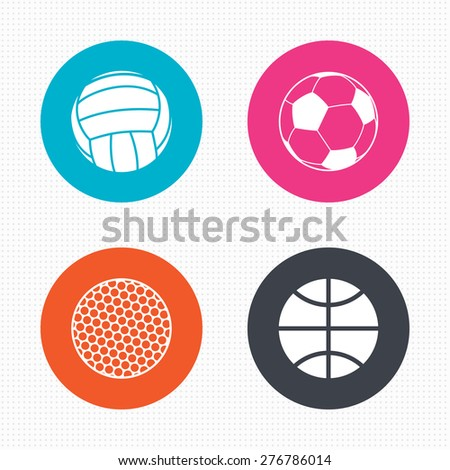 Circle buttons. Sport balls icons. Volleyball, Basketball, Soccer and Golf signs. Team sport games. Seamless squares texture. Vector - stock vector