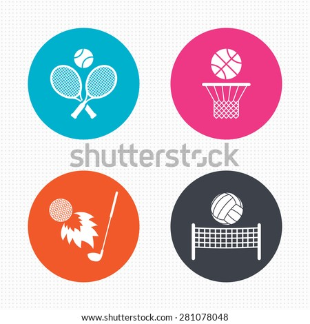 Circle buttons. Tennis rackets with ball. Basketball basket. Volleyball net with ball. Golf fireball sign. Sport icons. Seamless squares texture. Vector - stock vector