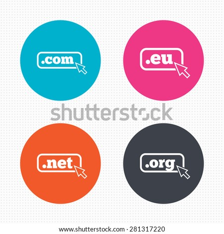Circle buttons. Top-level internet domain icons. Com, Eu, Net and Org symbols with cursor pointer. Unique DNS names. Seamless squares texture. Vector - stock vector