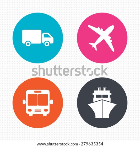 Circle buttons. Transport icons. Truck, Airplane, Public bus and Ship signs. Shipping delivery symbol. Air mail delivery sign. Seamless squares texture. Vector
