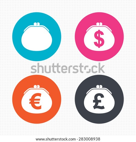 Circle buttons. Wallet with Dollar, Euro and Pounds currency icons. Cash bag signs. Retro wealth symbol. Seamless squares texture. Vector - stock vector