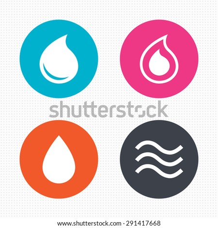 Circle buttons. Water drop icons. Tear or Oil drop symbols. Seamless squares texture. Vector - stock vector
