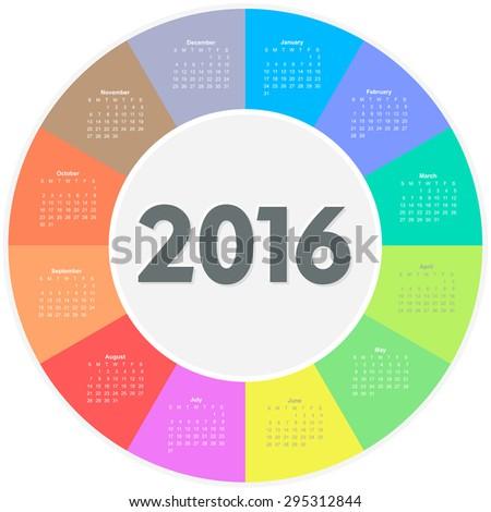 Circle calendar for 2016 year. Colorful vector  - stock vector