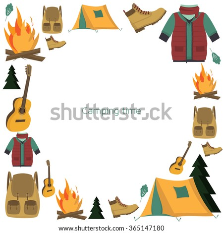 Circle Camping frame. Pattern with tourism and camping symbols: tent, backpack, campfire, guitar and hiking clothes: a warm jacket and boots. Traveling pattern. Camping in the forest. Into the wild. - stock vector