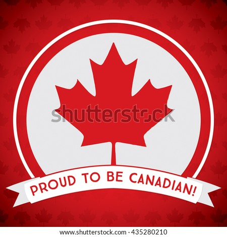 Circle Canada Day maple leaf card in vector format. - stock vector