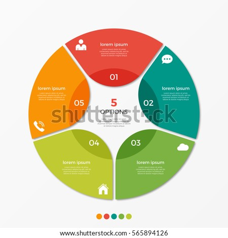 Circle chart infographic template 5 options stock vector 565894126 circle chart infographic template with 5 options for presentations advertising layouts annual reports ccuart Images