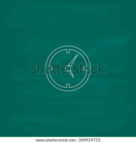 Circle Clock. Outline vector icon. Imitation draw with white chalk on green chalkboard. Flat Pictogram and School board background. Illustration symbol