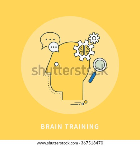 circle color line flat design of brain trainning, modern vector illustration - stock vector