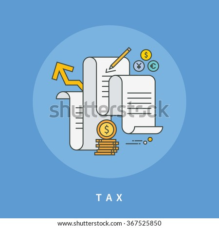 circle color line flat design of tax, modern vector illustration - stock vector