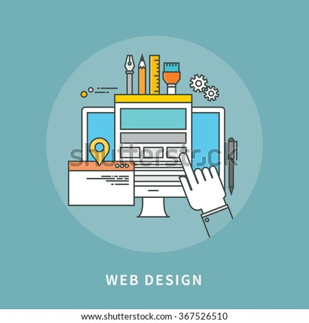 circle color line flat design of web design, modern vector illustration - stock vector