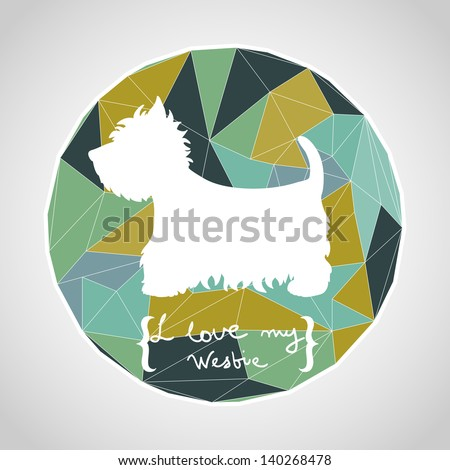 Circle composition made of geometric shapes. Label design. West highland terrier. Dog silhouette. Vector illustration. - stock vector