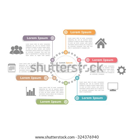 Circle diagram design template with six elements, vector eps10 illustration - stock vector