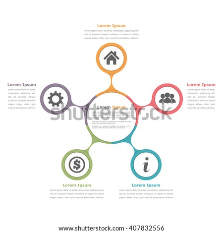 Circle diagram infographics five elements icons stock vector circle diagram infographics with five elements with icons and text circle flow chart template pronofoot35fo Images
