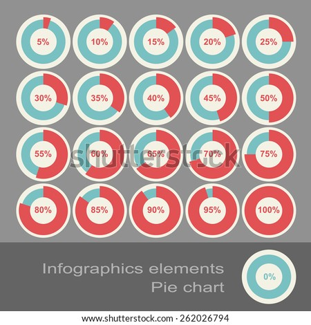 Circle Diagram Pie Charts Infographic Elements. Eps10 - stock vector