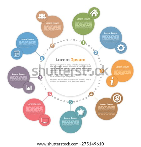 Circle diagram template with place for your text and icons, vector eps10 illustration - stock vector