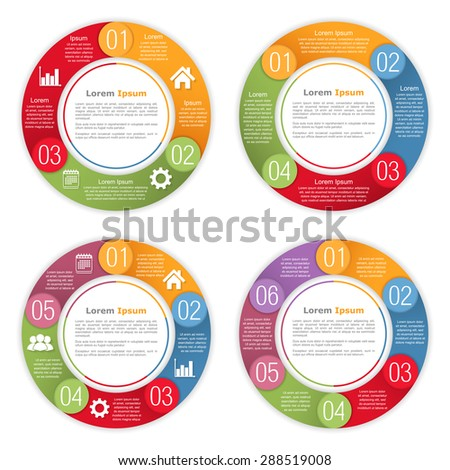 Circle diagram template with three, four, five and six steps or options, vector eps10 illustration - stock vector