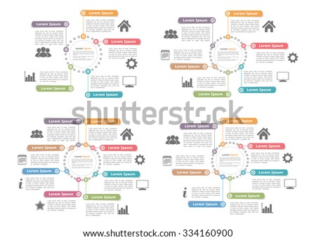 Circle diagram templates with five, six, seven and eight elements, steps or options, vector eps10 illustration - stock vector
