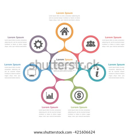 Circle diagram with seven elements with icons and text, flow chart template, business infographics, vector eps10 illustration - stock vector