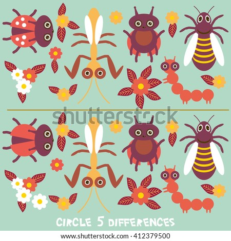 circle differences Educational Game for Preschool Children Picture puzzle: Find the five differences between the two pictures Funny insects butterfly dragonfly ladybugs wasp green background. Vector - stock vector