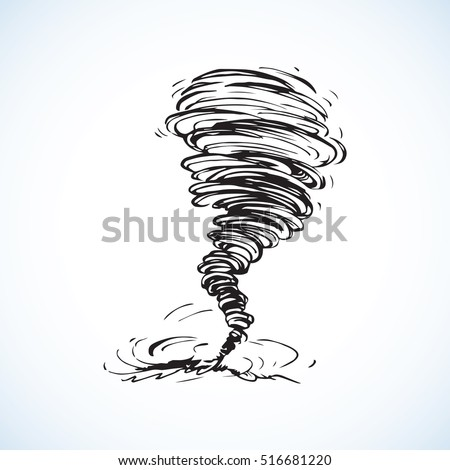 Circle dust spin fast twirl blow eddy blizzard isolated on white sky backdrop. Freehand outline black ink hand drawn picture sign sketchy in art scribble modern style pen on paper and space for text