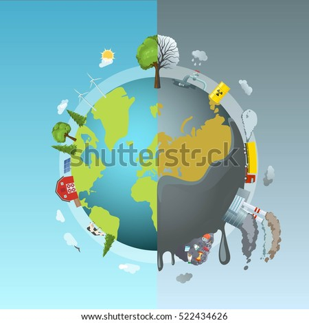 Circle Ecology Composition Cartoon Style Drawn Stock Vector 522434626 Shutterstock