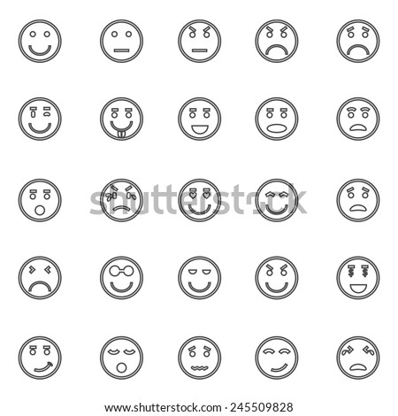Circle face line icons on white background, stock vector - stock vector