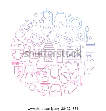 Circle filled with linear icons of clothes, toys, feeding bottle and different stuff for newborn baby. EPS10. - stock vector