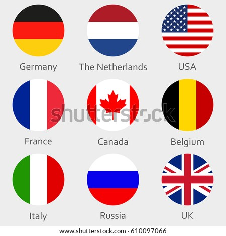 Circle Flags Icon Badges Set Round Stockvector 610097066 Shutterstock