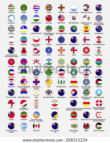 Circle flags of the world, dependencies, provinces, islands, territories, disputed territories, regions, non recognized by UN, self proclaimed, collection, eps 10 - stock vector