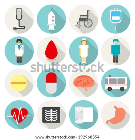 circle flat icon hospital - stock vector