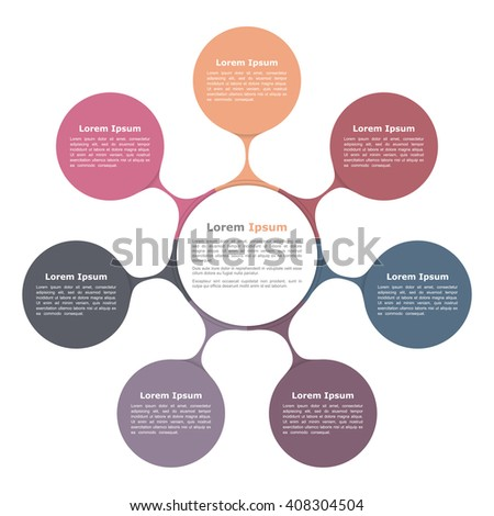 Circle flow chart with seven elements, circle diagram, infographic template, vector eps10 illustration - stock vector