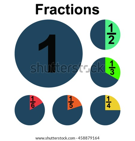 Circle fraction vector parts diagram on the white background