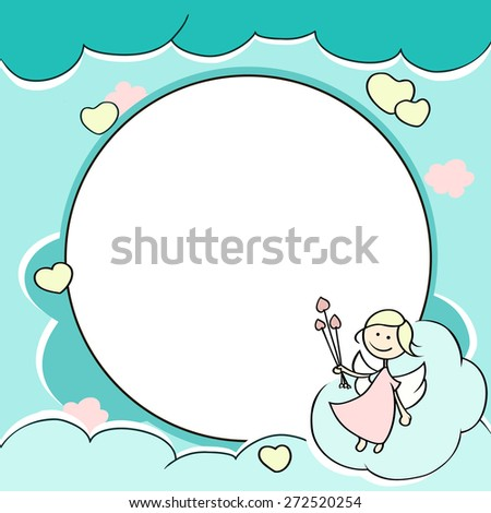 Circle frame for valentines day cards with clouds, hearts, angel and arrow. Background with Cute cartoon cupid and place for text. Vector illustration.  - stock vector