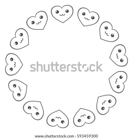 Circle Frame Heart Template Border Stock Vector   Shutterstock
