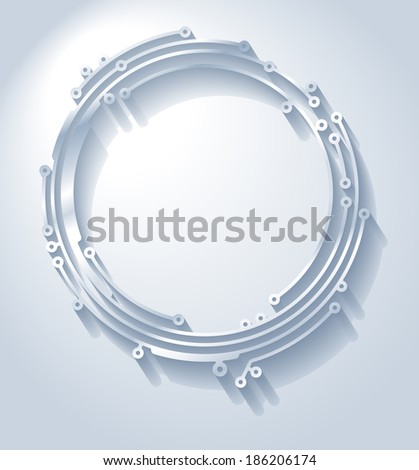 Circle frame in PCB-layout style with shadow - stock vector