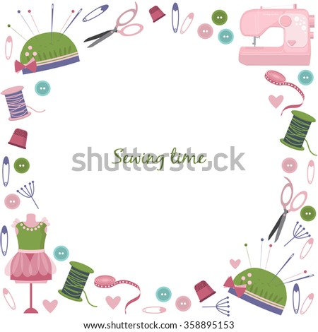 Circle Frame Cute Sewing Equipment Objects Stock Vector HD (Royalty ...